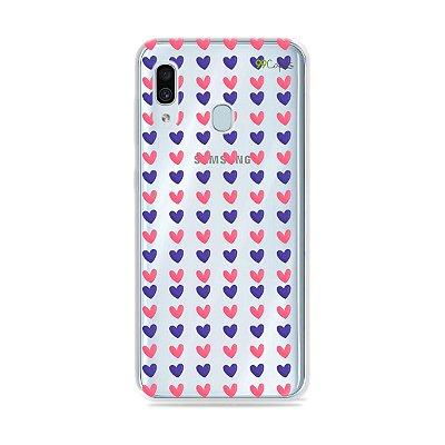 Capa para Galaxy A30 - Corações Roxo e Rosa
