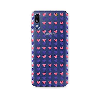 Capa para Galaxy M20 - Corações Roxo e Rosa