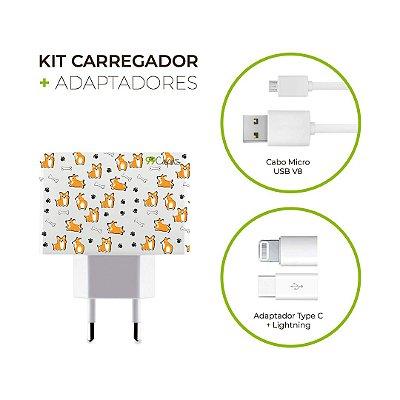 Kit Carregador Personalizado Duplo USB de Parede + Cabo Micro Usb Personalizado + Adaptador Type C e Lightning - Cãozinho