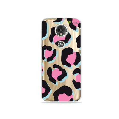 Capa para Moto E5 Plus - Animal Print Black & Pink