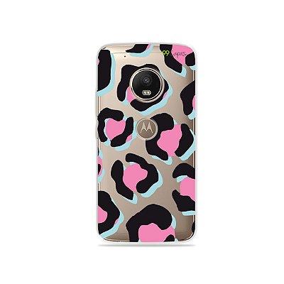 Capa para Moto G5 Plus - Animal Print Black & Pink
