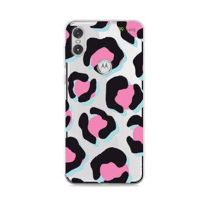 Capa para Moto One - Animal Print Black & Pink