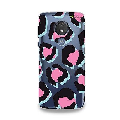 Capa para Moto G7 Power - Animal Print Black &Pink