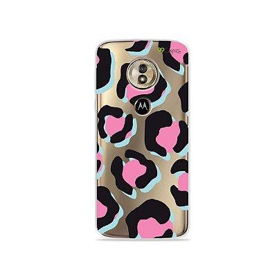 Capa para Moto G6 Play - Animal Print Black & Pink