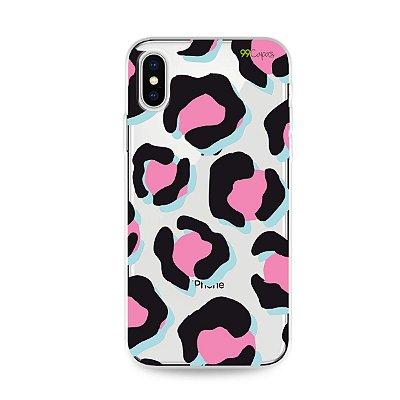 Capa para iPhone X/XS - Animal Print Black & Pink