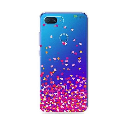 Capa para Xiaomi Mi 8 Lite - Corações Rosa