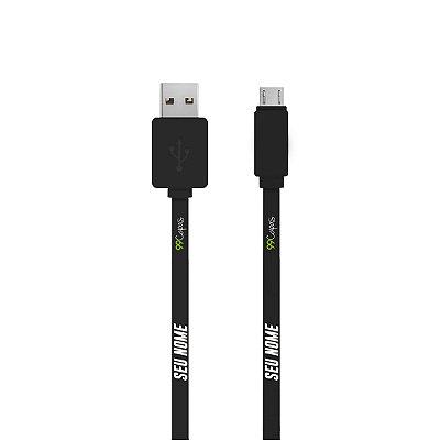 Cabo Com Nome Micro USB Preto Personalizado