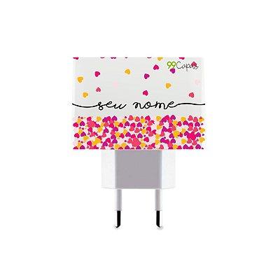 Carregador Duplo USB de Parede Personalizado Com Nome - Corações Rosa