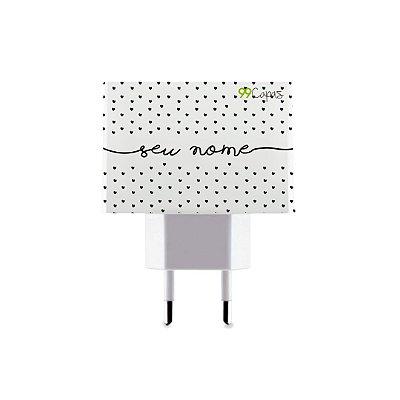 Carregador Duplo USB de Parede Personalizado Com Nome - Corações Preto