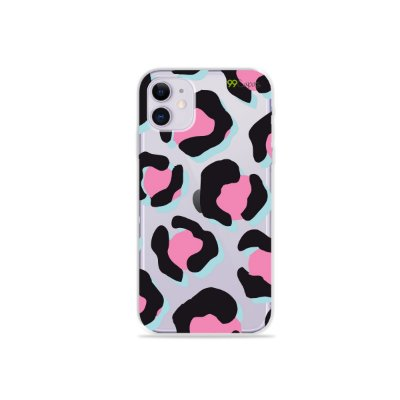 Capa para iPhone 11 - Animal Print Black & Pink
