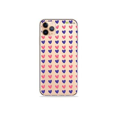 Capa para iPhone 11 Pro - Corações Roxo e Rosa