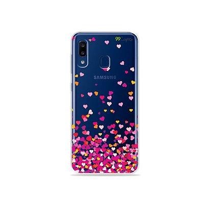 Capa para Galaxy A20 - Corações Rosa