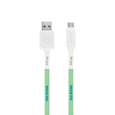 Cabo Micro USB Branco com nome - Color Menta