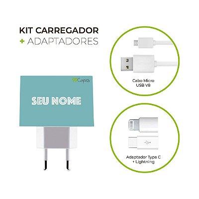 Kit Carregador Personalizado Duplo USB de Parede + Cabo Micro Usb Personalizado + Adaptador Type C  - Color Azul