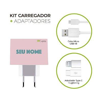 Kit Carregador Personalizado Duplo USB de Parede + Cabo Micro Usb Personalizado + Adaptador Type C  - Color Shell