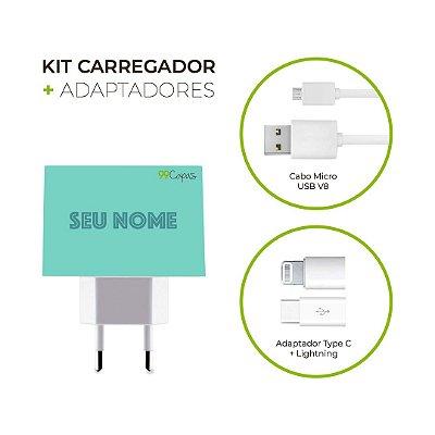Kit Carregador Personalizado Duplo USB de Parede + Cabo Micro Usb Personalizado + Adaptador Type C  - Color Verde Piscina