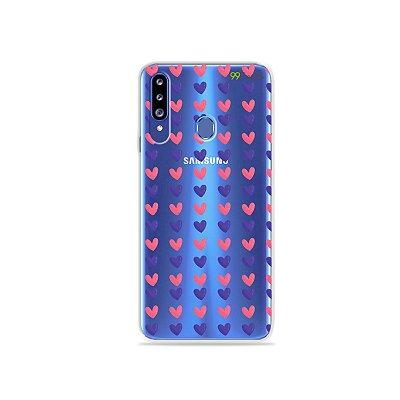 Capa para Galaxy A20s - Corações Roxo e Rosa