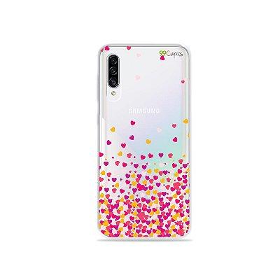 Capa para Galaxy A30s - Corações Rosa