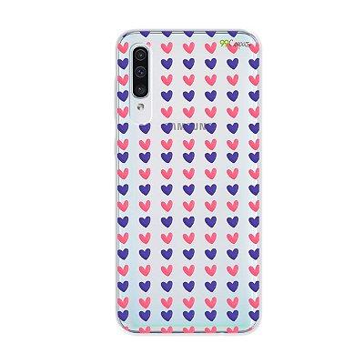 Capa para Galaxy A50s - Corações Roxo e Rosa