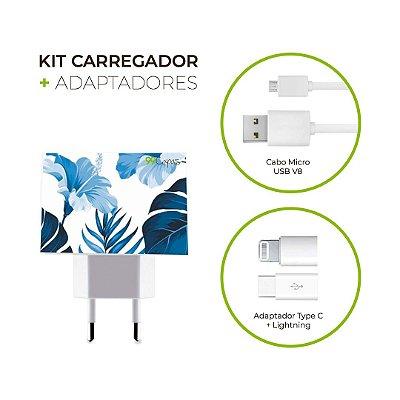 Kit Carregador Personalizado Duplo USB de Parede + Cabo Micro Usb Personalizado + Adaptador Type C e Lightning  - Flowers in Blue