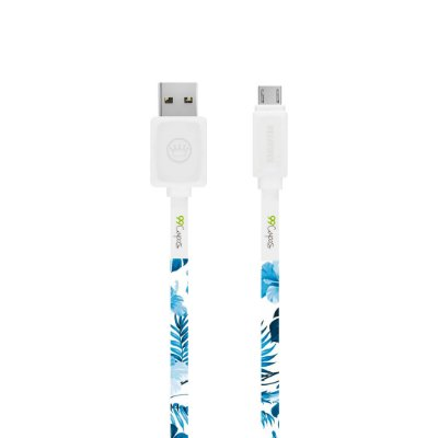 Cabo Micro USB Branco Personalizado - Flowers in Blue