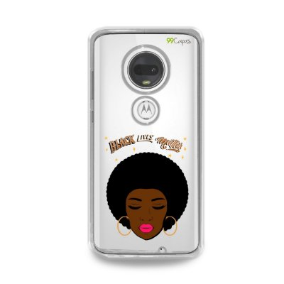 Capinha (transparente) para Moto G7 Plus - Black Lives