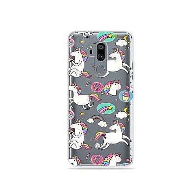 Capinha (transparente) para LG G7 ThinQ - Unicórnios Felizes