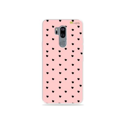 Capinha para LG G7 ThinQ - Corações preto com rosa