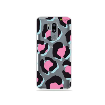 Capinha (transparente) para LG G7 ThinQ - Animal Print Black & Pink