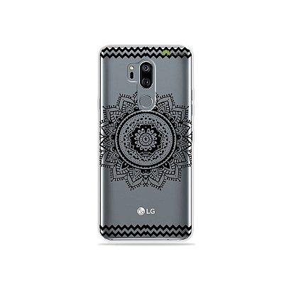 Capinha (transparente) para LG G7 ThinQ - Mandala Preta