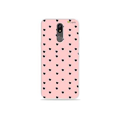 Capinha para LG K12 Plus - Corações Preto com Rosa