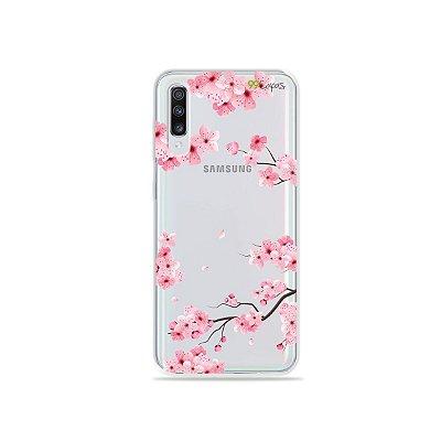 Capinha (transparente) para Galaxy A70s - Cerejeiras