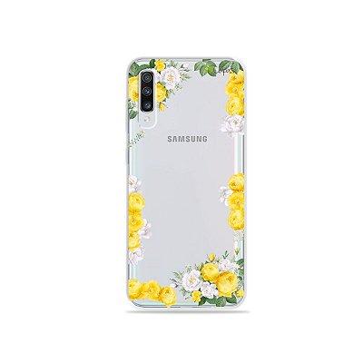 Capinha (transparente) para Galaxy A70s - Yellow Roses