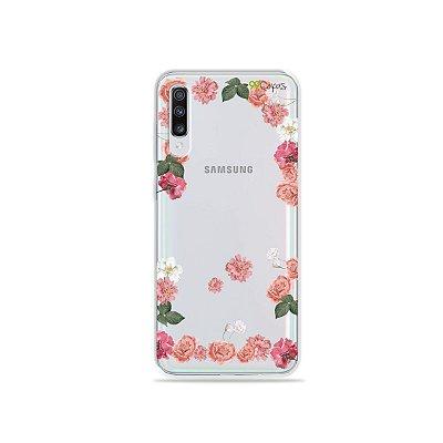 Capinha (transparente) para Galaxy A70s - Pink Roses