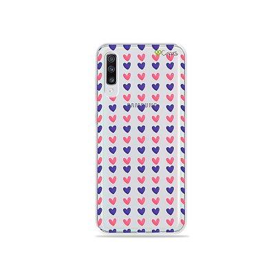 Capinha (transparente) para Galaxy A70s - Corações Roxo e Rosa