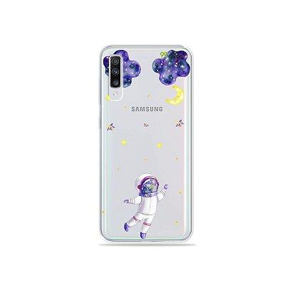 Capinha (transparente) para Galaxy A70s - Astronauta Sonhador
