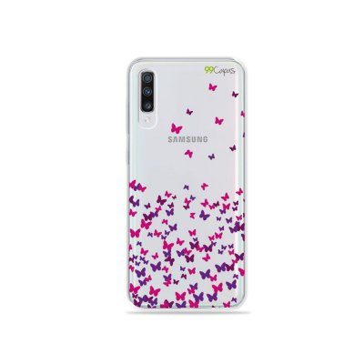 Capinha (transparente) para Galaxy A70s - Borboletas Flutuantes
