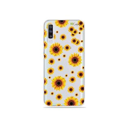 Capinha (transparente) para Galaxy A70s - Girassóis