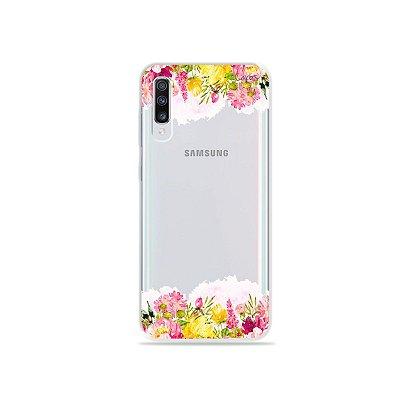 Capinha (transparente) para Galaxy A70s - Botânica