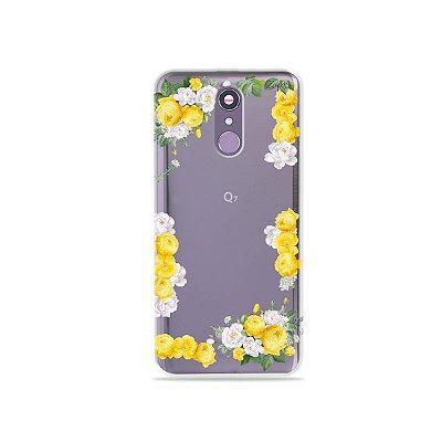 Capinha (transparente) para LG Q7 - Yellow Roses