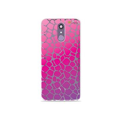 Capinha (transparente) para LG Q7 - Animal Print Pink