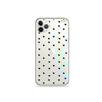 Capinha Holo Translúcida para iPhone 11 Pro - Corações Preto