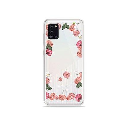 Capa Pink Roses para Galaxy A31