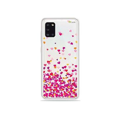 Capinha Corações Rosa para Galaxy A31