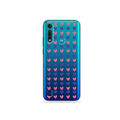 Capa (transparente) para Moto G8 Power Lite - Coração Roxo e Rosa