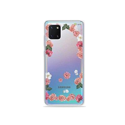 Capinha Pink Roses para Galaxy Note 10 Lite
