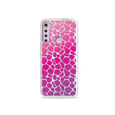 Capinha (transparente) para Moto One Fusion Plus - Animal Print Pink