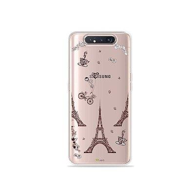 Capinha (Transparente) Paris para Galaxy A80