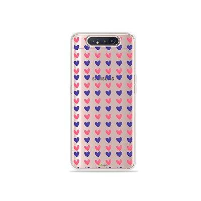 Capinha (Transparente) Corações Roxo e Rosa para Galaxy A80
