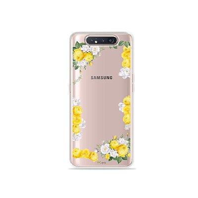 Capinha (Transparente) Yellow Roses para Galaxy A80